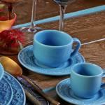 Conjunto 6 Xícaras para Chá com Pires Acanthus Azul Celeste
