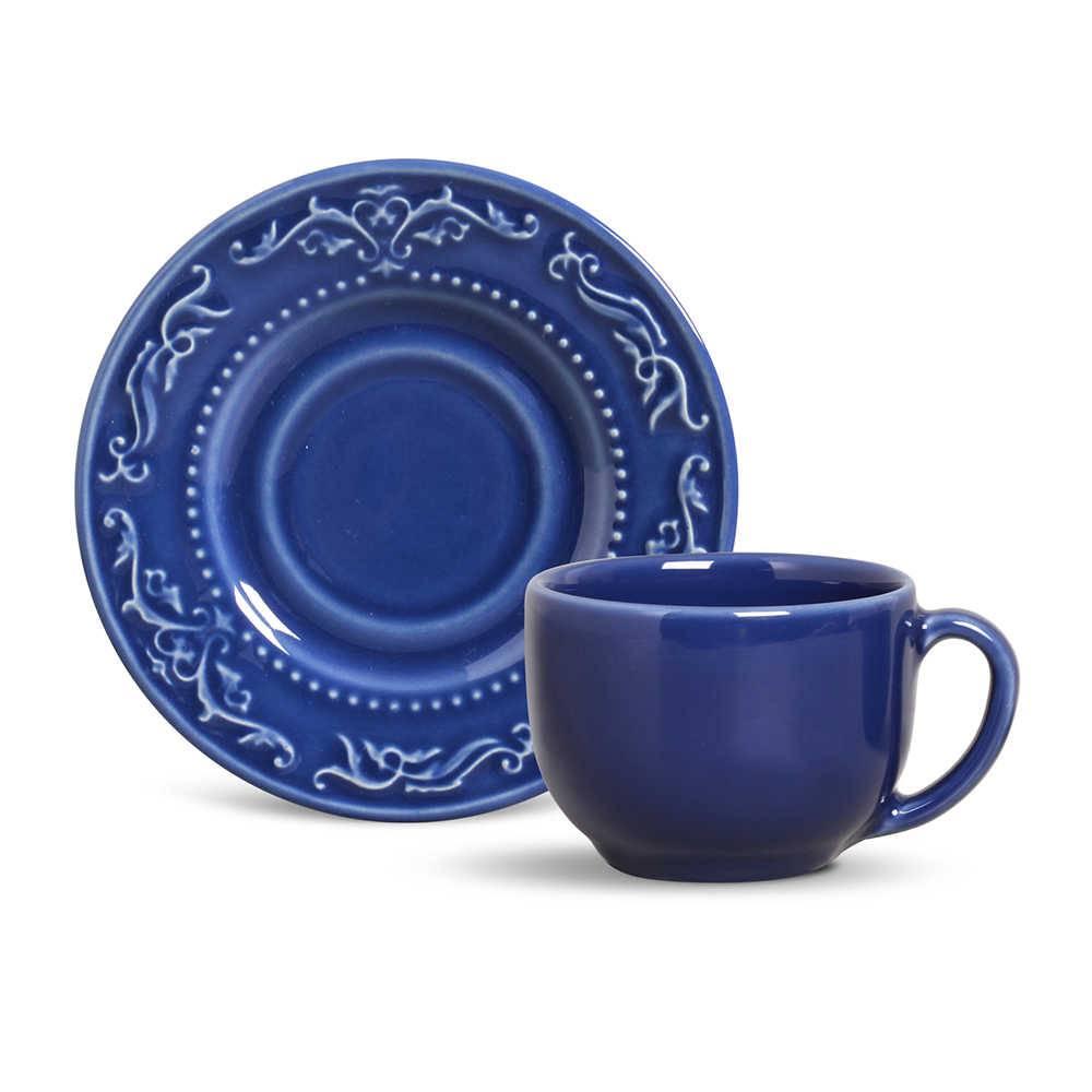 Conjunto 6 Xícaras para Chá com Pires Acanthus Azul Navy - em Cerâmica - La Tavola - Porto Brasil - 14x10,5 cm