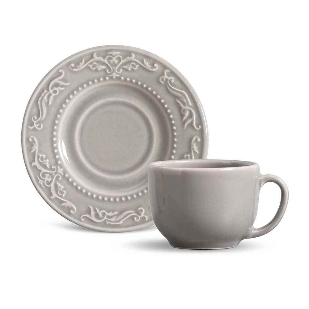 Conjunto 6 Xícaras para Chá com Pires Acanthus Cinza Claro - em Cerâmica - La Tavola - Porto Brasil - 14x10,5 cm