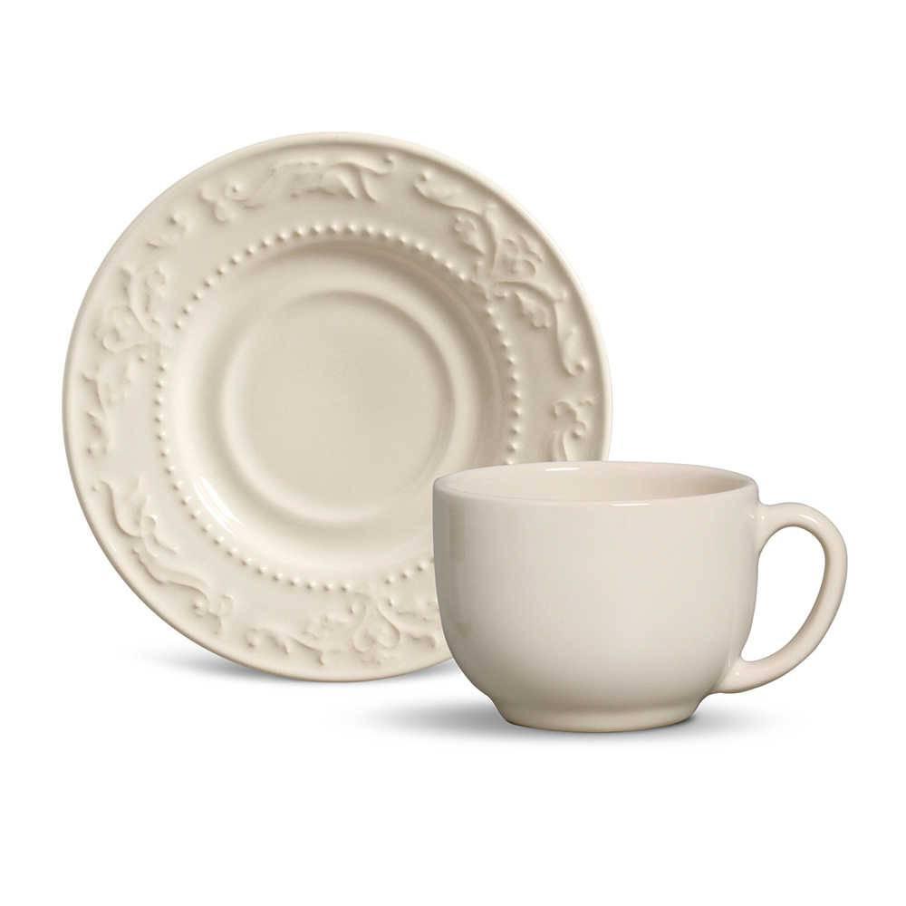 Conjunto 6 Xícaras para Chá com Pires Acanthus Cru - em Cerâmica - La Tavola - Porto Brasil - 14x10,5 cm