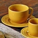 Conjunto 6 Xícaras para Chá com Pires Acanthus Mostarda