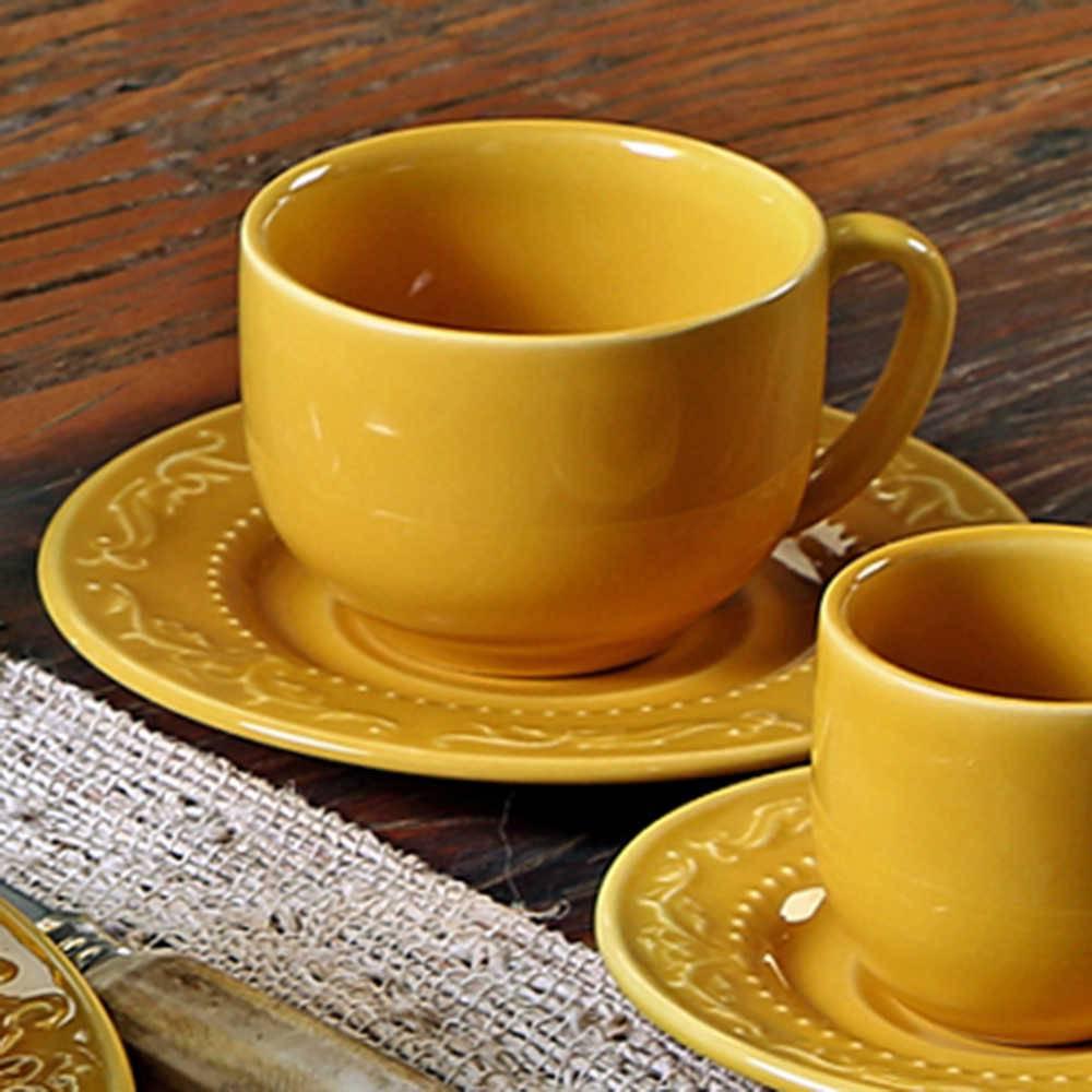 Conjunto 6 Xícaras para Chá com Pires Acanthus Mostarda - em Cerâmica - La Tavola - Porto Brasil - 14x10,5 cm