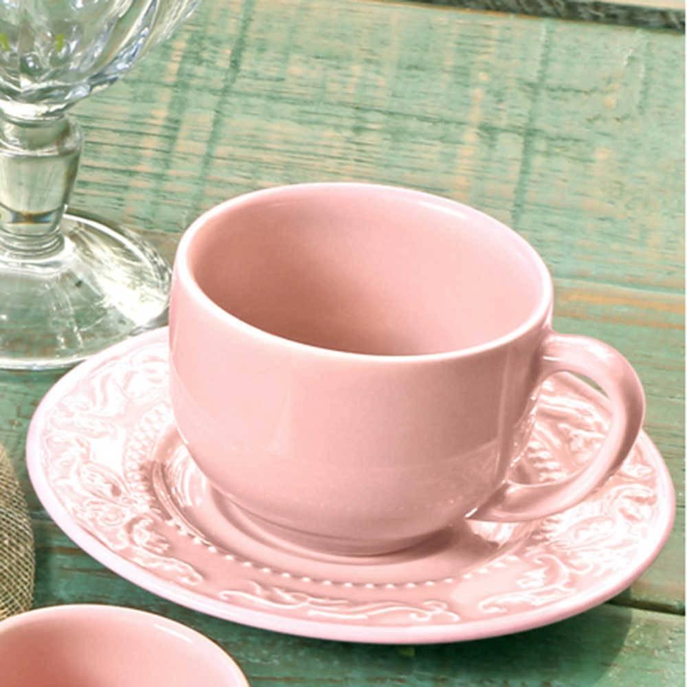 Conjunto 6 Xícaras para Chá com Pires Acanthus Rosa - em Cerâmica - La Tavola - Porto Brasil - 14x10,5 cm