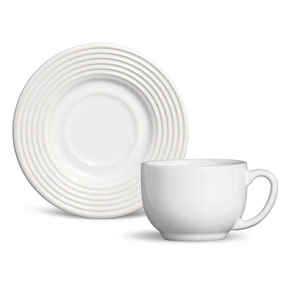 Conjunto 6 Xícaras de Chá com Pires Argos Branco em Cerâmica - Ravenna - Porto Brasil