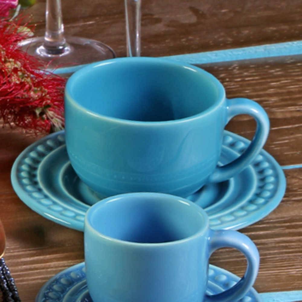 Conjunto 6 Xícaras para Chá com Pires Atenas Azul Celeste - em Cerâmica - La Tavola - Porto Brasil - 14x10,5 cm