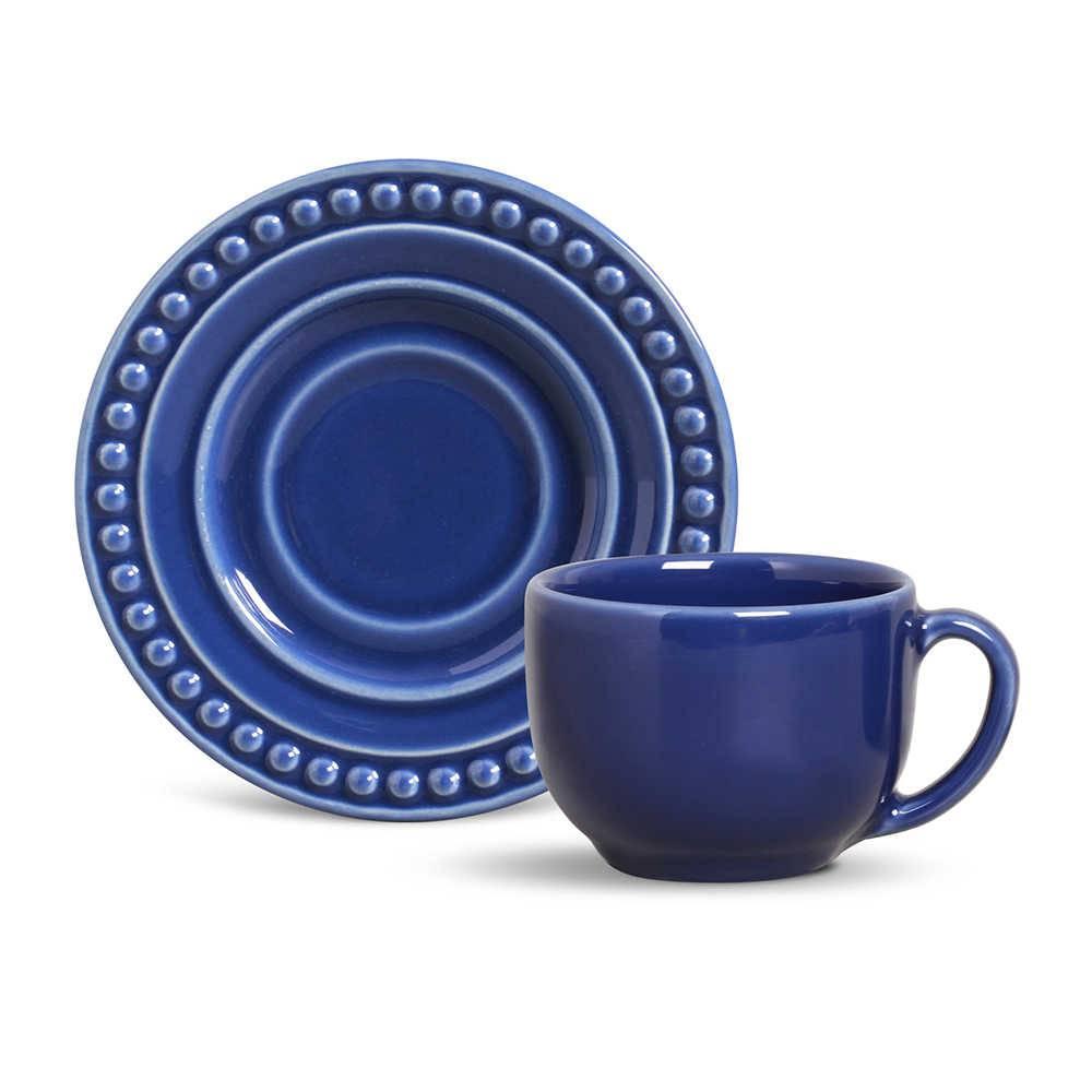 Conjunto 6 Xícaras para Chá com Pires Atenas Azul Navy- em Cerâmica - La Tavola - Porto Brasil - 14x10,5 cm