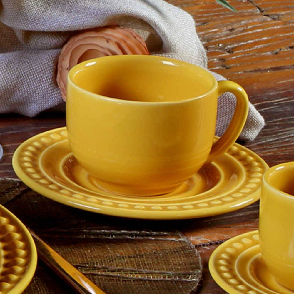 Conjunto 6 Xícaras para Chá com Pires Atenas Mostarda - em Cerâmica - La Tavola - Porto Brasil - 14x10,5 cm