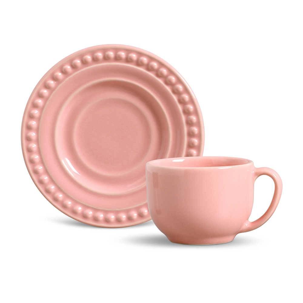 Conjunto 6 Xícaras para Chá com Pires Atenas Rosa - em Cerâmica - La Tavola - Porto Brasil - 14x10,5 cm