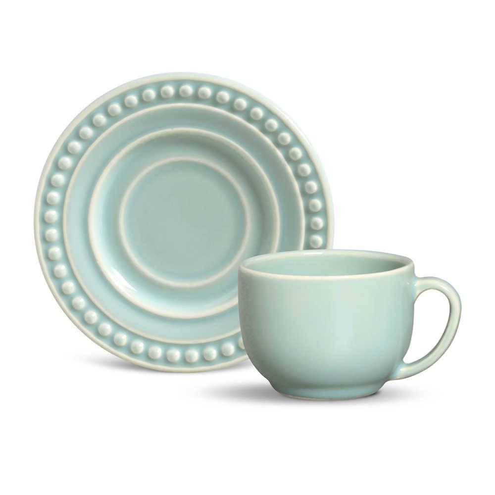 Conjunto 6 Xícaras para Chá com Pires Atenas Verde - em Cerâmica - La Tavola - Porto Brasil - 14x10,5 cm