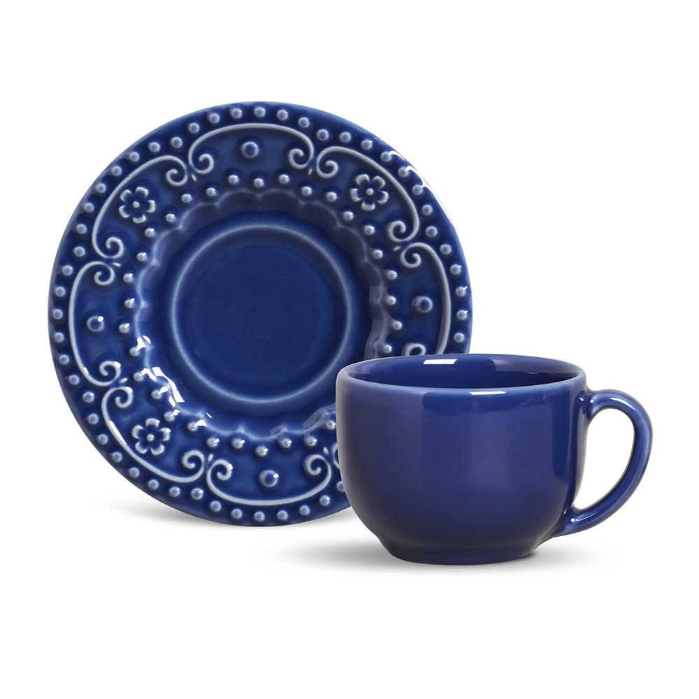 Conjunto 6 Xícaras para Chá com Pires Esparta Azul Navy - em Cerâmica - La Tavola - Porto Brasil - 14x10,5 cm