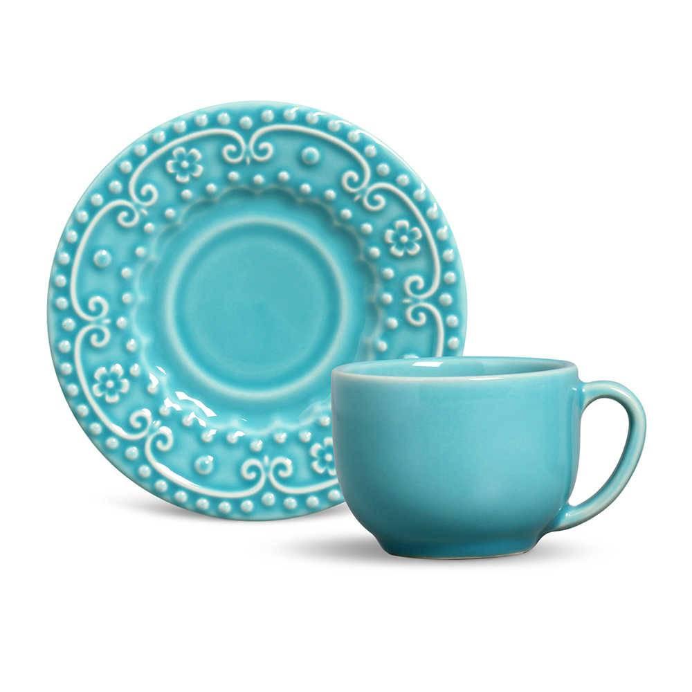 Conjunto 6 Xícaras para Chá com Pires Esparta Azul Poppy - em Cerâmica - La Tavola - Porto Brasil - 14x10,5 cm