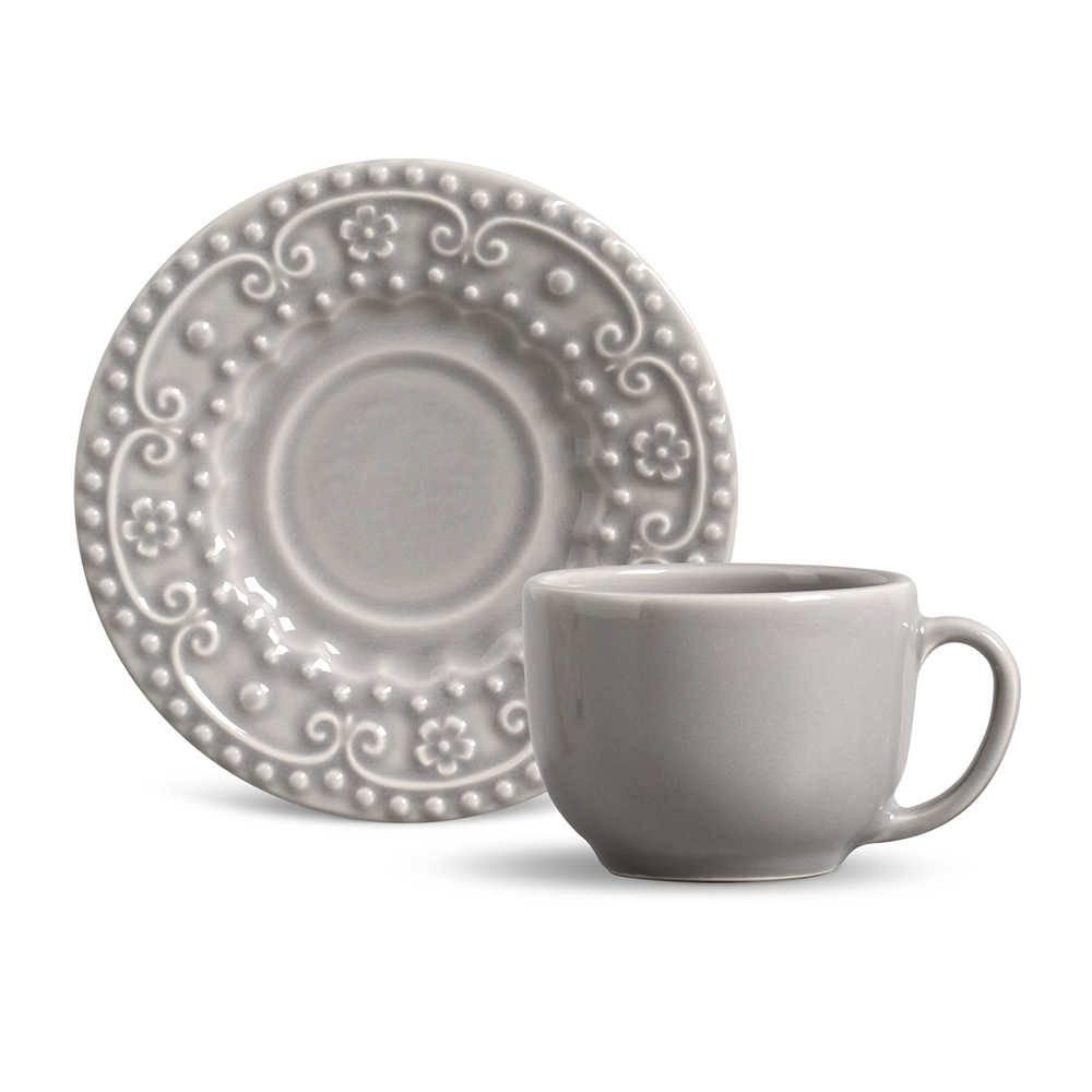 Conjunto 6 Xícaras para Chá com Pires Esparta Cinza Claro - em Cerâmica - La Tavola - Porto Brasil - 14x10,5 cm