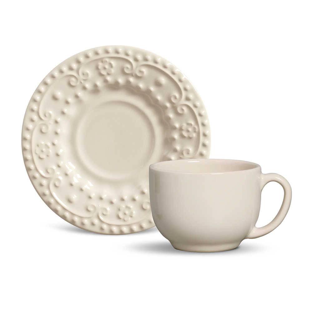 Conjunto 6 Xícaras para Chá com Pires Esparta Cru - em Cerâmica - La Tavola - Porto Brasil - 14x10,5 cm