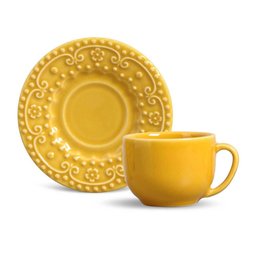 Conjunto 6 Xícaras para Chá com Pires Esparta Mostarda - em Cerâmica - La Tavola - Porto Brasil - 14x10,5 cm