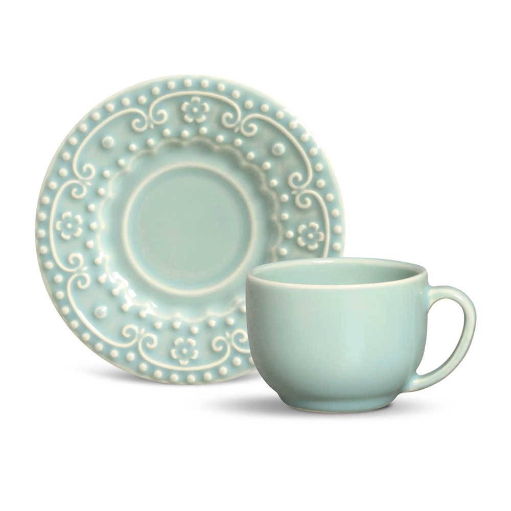 Conjunto 6 Xícaras para Chá com Pires Esparta Verde - em Cerâmica - La Tavola - Porto Brasil - 14x10,5 cm