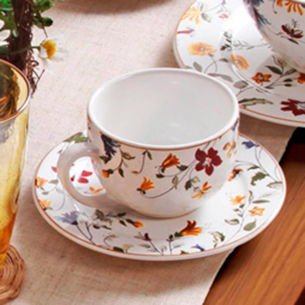 Conjunto 6 Xícaras de Chá com Pires Flat Astúrias - em Cerâmica - Porto Brasil