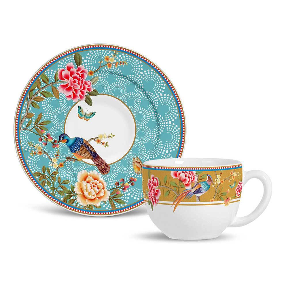 Conjunto 6 Xícaras de Chá com Pires Flat Faenza em Cerâmica - Porto Brasil