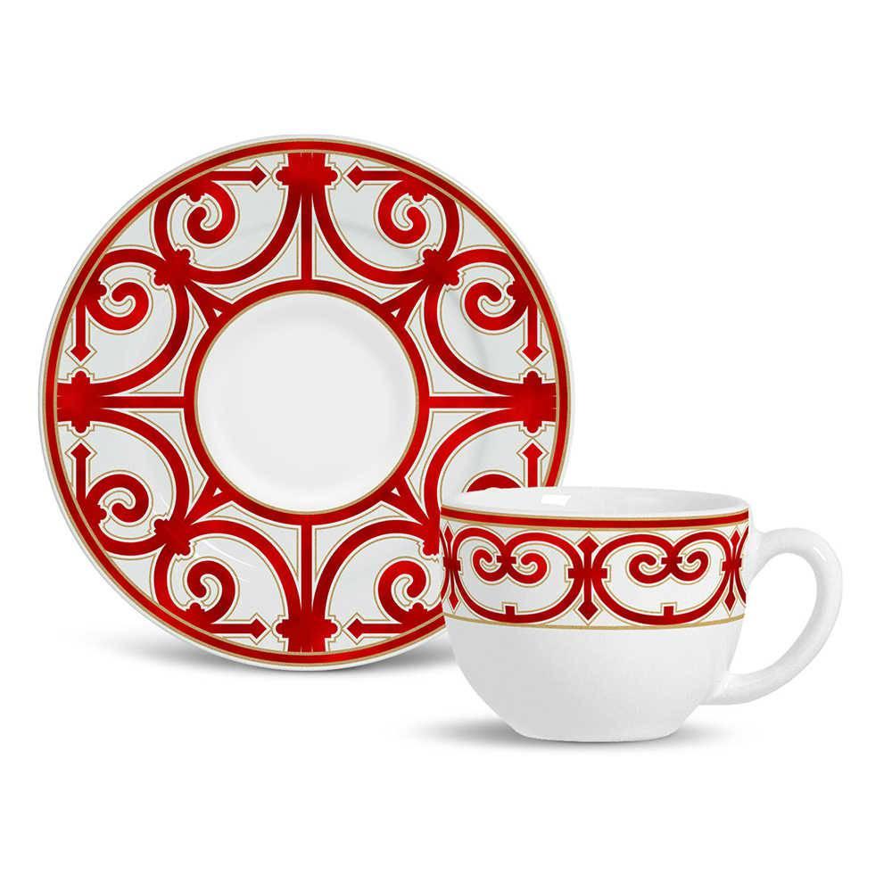 Conjunto 6 Xícaras de Chá com Pires Flat Medieval Vermelho em Cerâmica - Porto Brasil