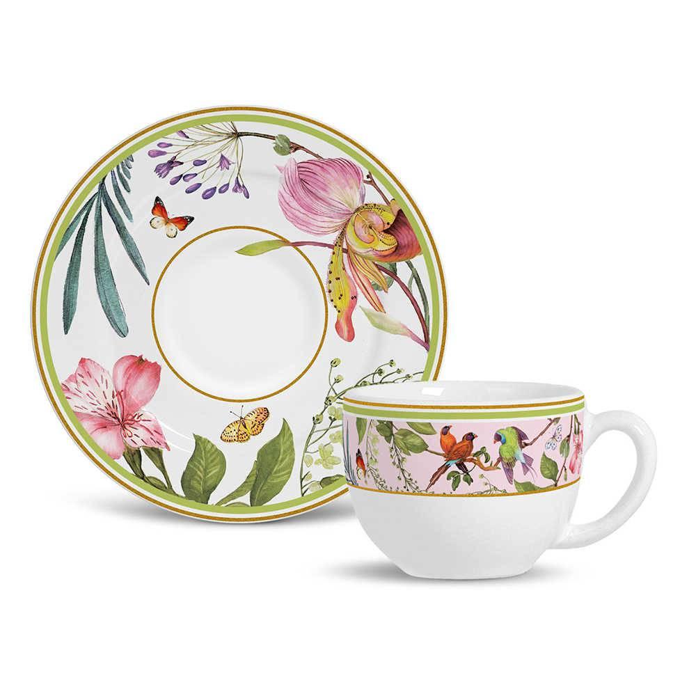 Conjunto 6 Xícaras de Chá com Pires Flat Tropicália em Cerâmica - Porto Brasil