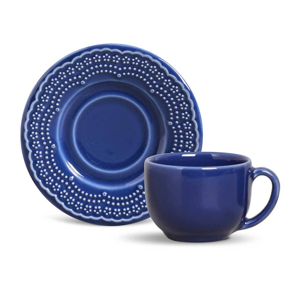 Conjunto 6 Xícaras para Chá com Pires Madeleine Azul Navy - em Cerâmica - La Tavola - Porto Brasil - 14x10,5 cm