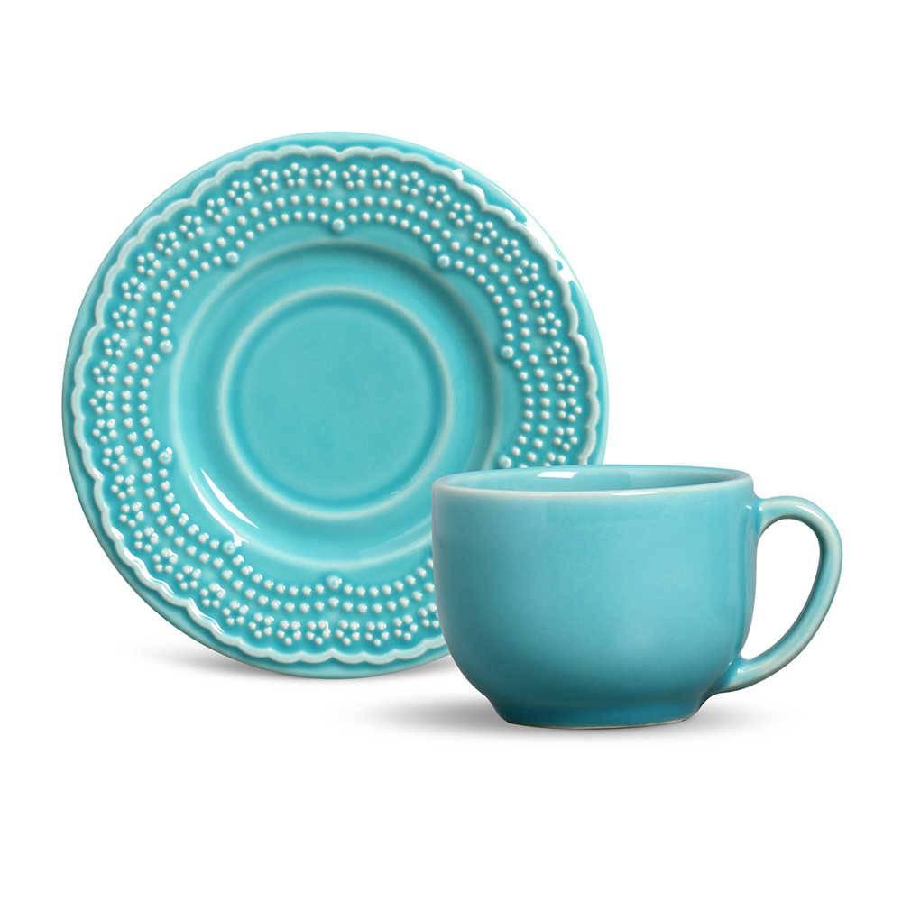 Conjunto 6 Xícaras para Chá com Pires Madeleine Azul Poppy - em Cerâmica - La Tavola - Porto Brasil - 14x10,5 cm