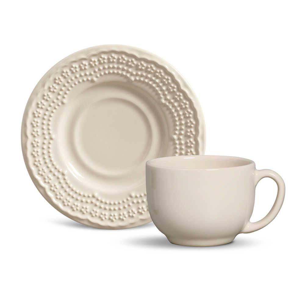 Conjunto 6 Xícaras para Chá com Pires Madeleine Cru - em Cerâmica - La Tavola - Porto Brasil - 14x10,5 cm