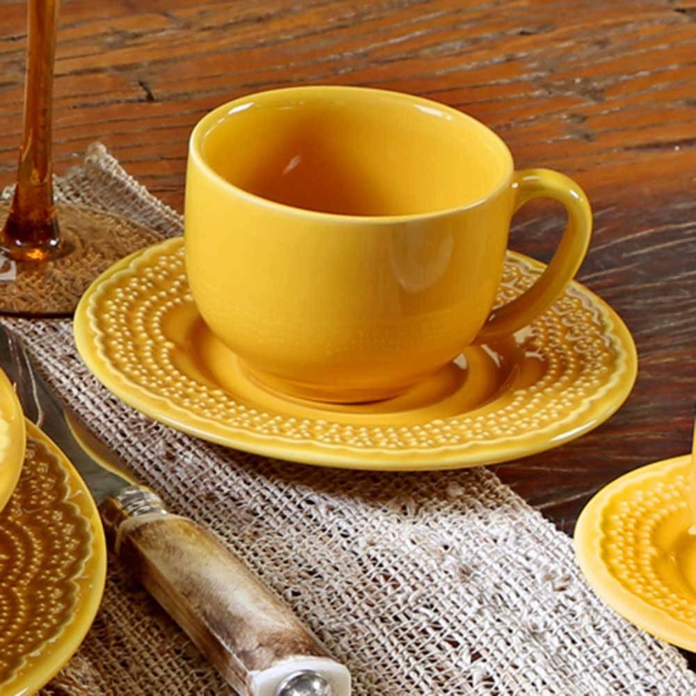 Conjunto 6 Xícaras para Chá com Pires Madeleine Mostarda - em Cerâmica - La Tavola - Porto Brasil - 14x10,5 cm