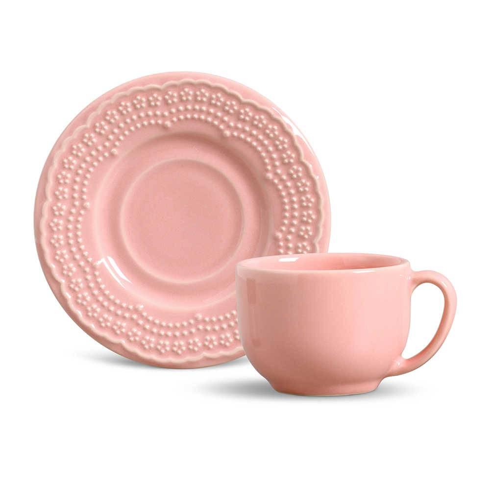 Conjunto 6 Xícaras para Chá com Pires Madeleine Rosa - em Cerâmica - La Tavola - Porto Brasil - 14x10,5 cm