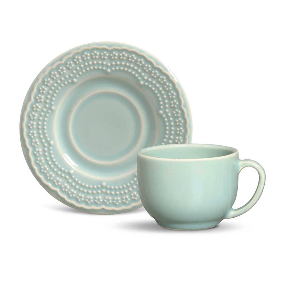 Conjunto 6 Xícaras para Chá com Pires Madeleine Verde - em Cerâmica - La Tavola - Porto Brasil - 14x10,5 cm