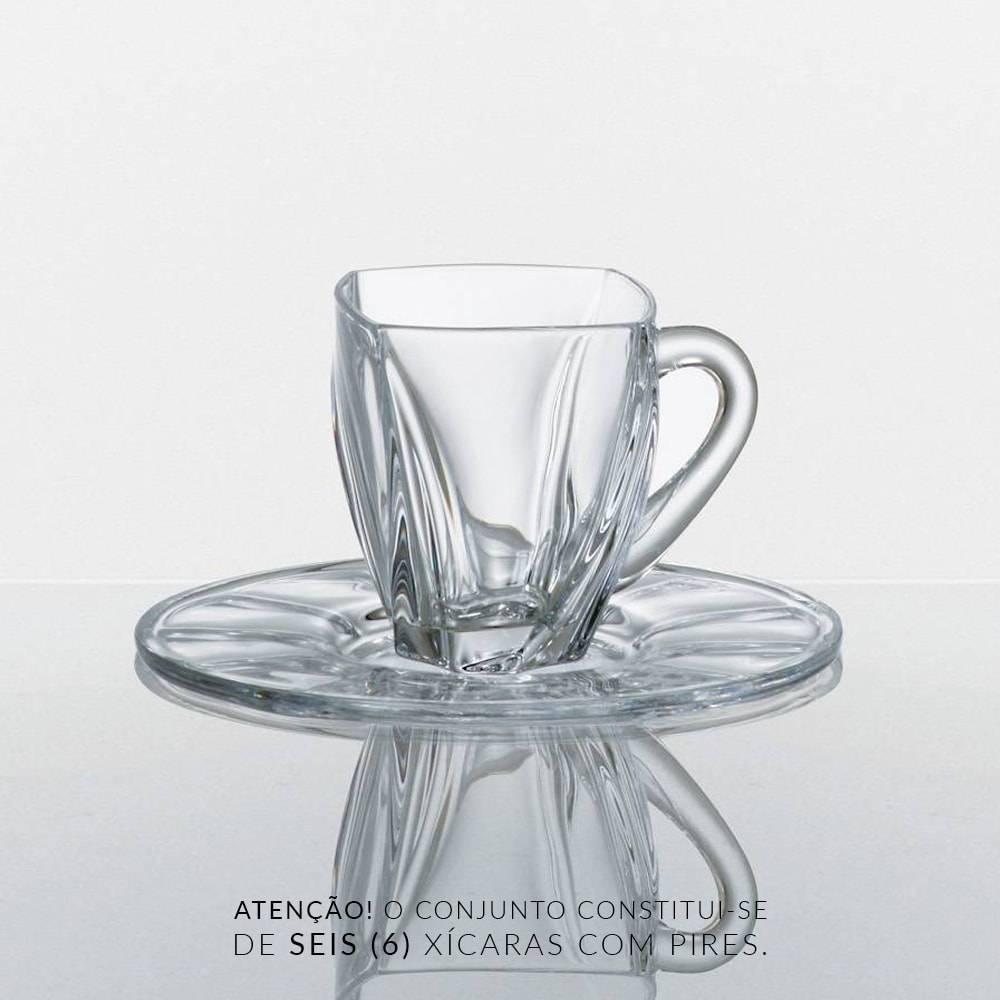 Conjunto 6 Xícaras de Chá com Pires Neptun - 150 ml - Bohemia Crystalite