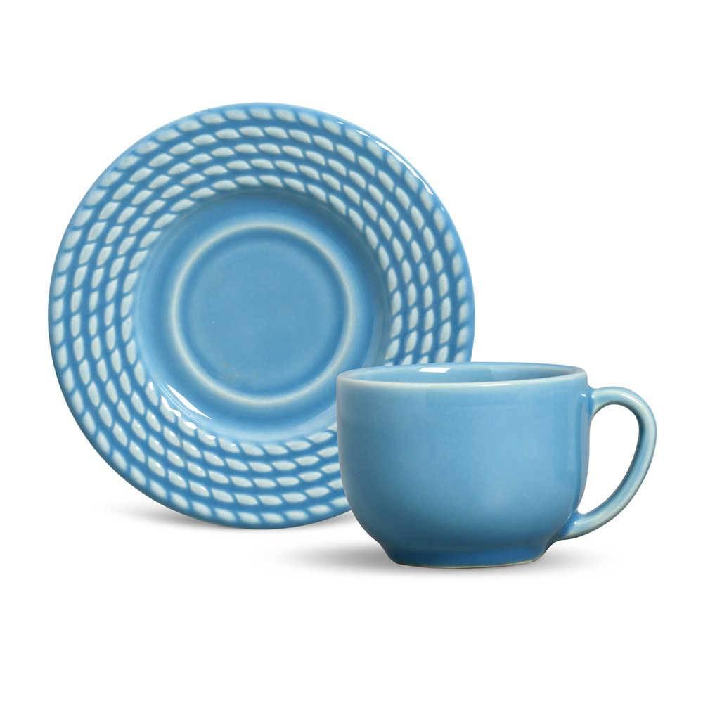 Conjunto 6 Xícaras para Chá com Pires Olímpia Azul Celeste - em Cerâmica - La Tavola - Porto Brasil - 14x10,5 cm
