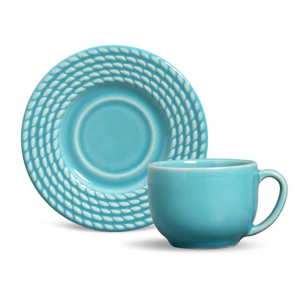 Conjunto 6 Xícaras para Chá com Pires Olímpia Azul Poppy - em Cerâmica - La Tavola - Porto Brasil - 14x10,5 cm
