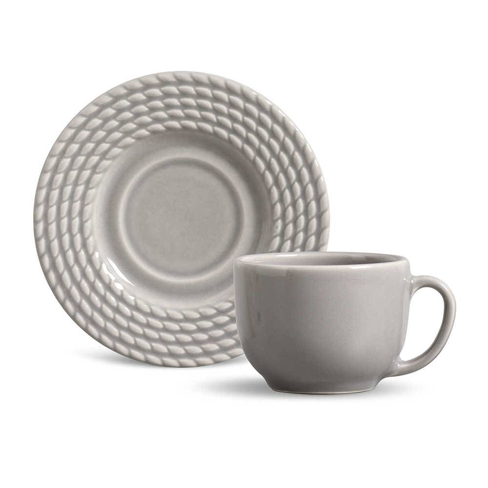 Conjunto 6 Xícaras para Chá com Pires Olímpia Cinza Claro - em Cerâmica - La Tavola - Porto Brasil - 14x10,5 cm