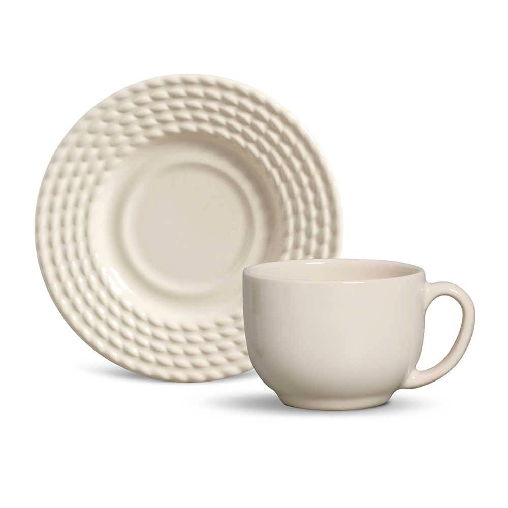 Conjunto 6 Xícaras para Chá com Pires Olímpia Cru - em Cerâmica - La Tavola - Porto Brasil - 14x10,5 cm