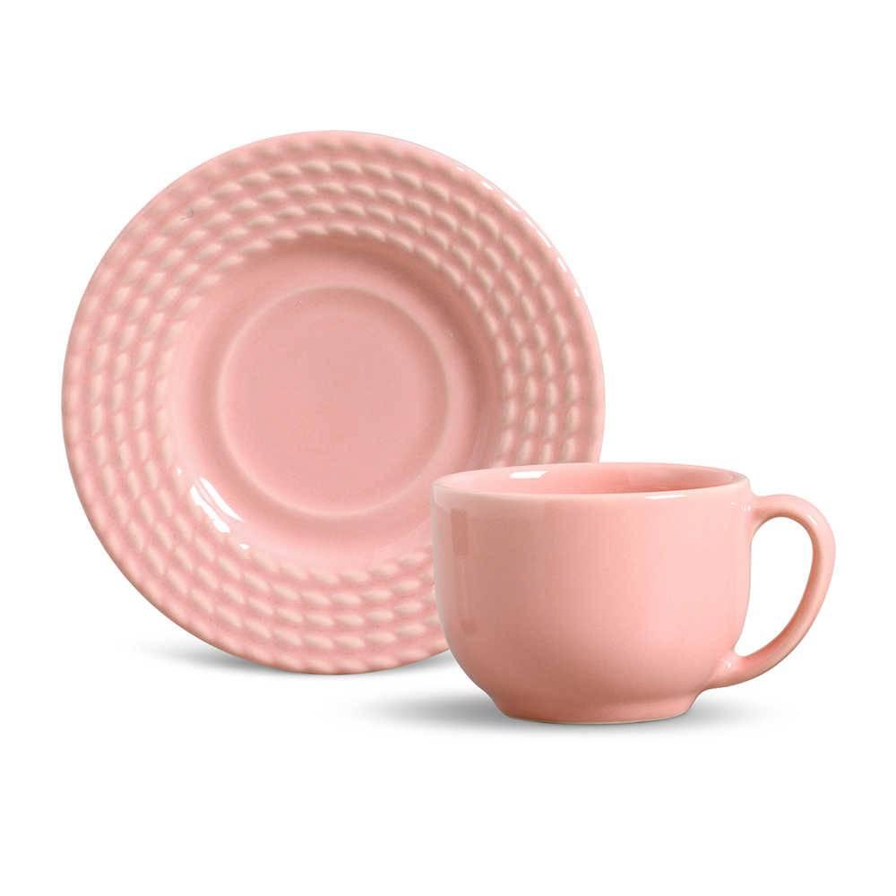 Conjunto 6 Xícaras para Chá com Pires Olímpia Rosa - em Cerâmica - La Tavola - Porto Brasil - 14x10,5 cm