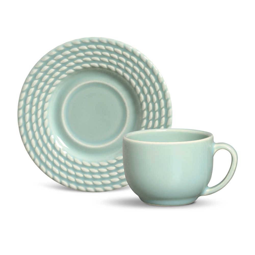 Conjunto 6 Xícaras para Chá com Pires Olímpia Verde - em Cerâmica - La Tavola - Porto Brasil - 14x10,5 cm