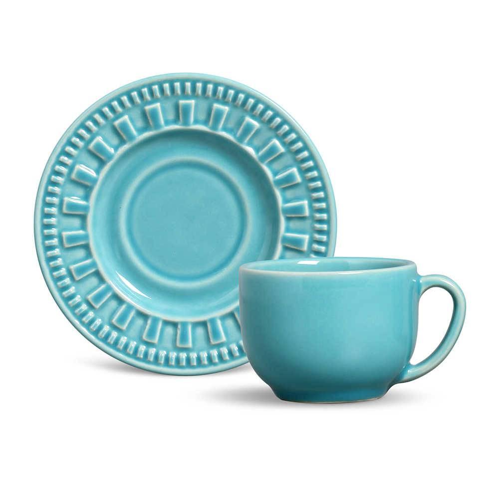 Conjunto 6 Xícaras para Chá com Pires Parthenon Azul Poppy - em Cerâmica - La Tavola - Porto Brasil - 14x10,5 cm