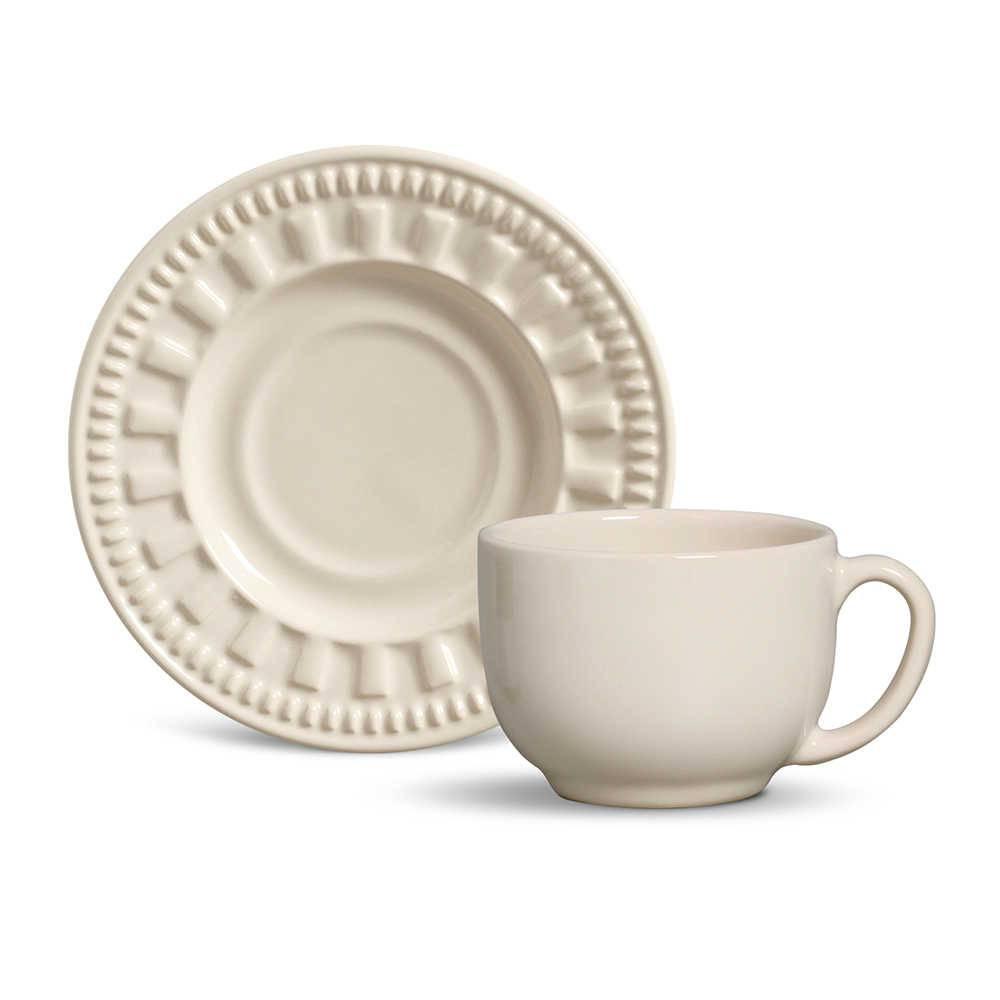 Conjunto 6 Xícaras para Chá com Pires Parthenon Cru - em Cerâmica - La Tavola - Porto Brasil - 14x10,5 cm