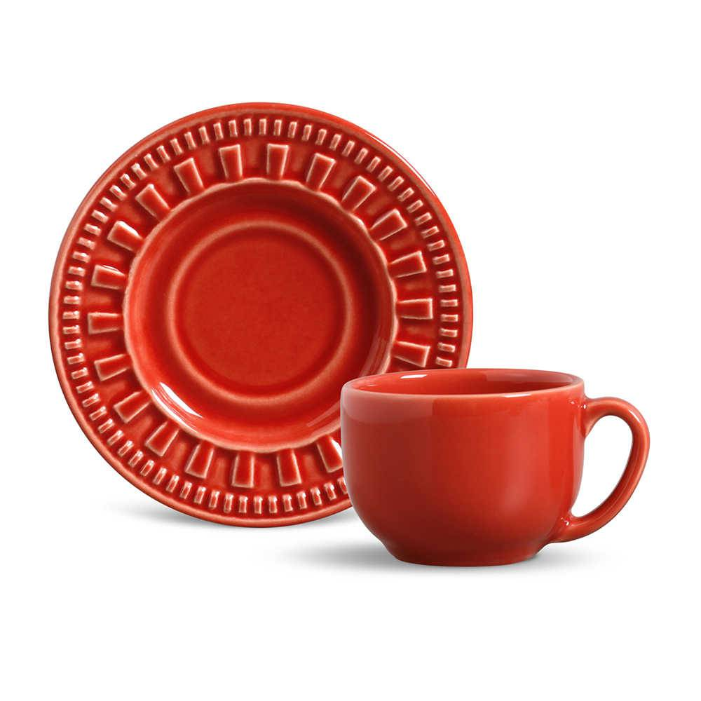 Conjunto 6 Xícaras para Chá com Pires Parthenon Vermelho - em Cerâmica - La Tavola - Porto Brasil - 14x10,5 cm