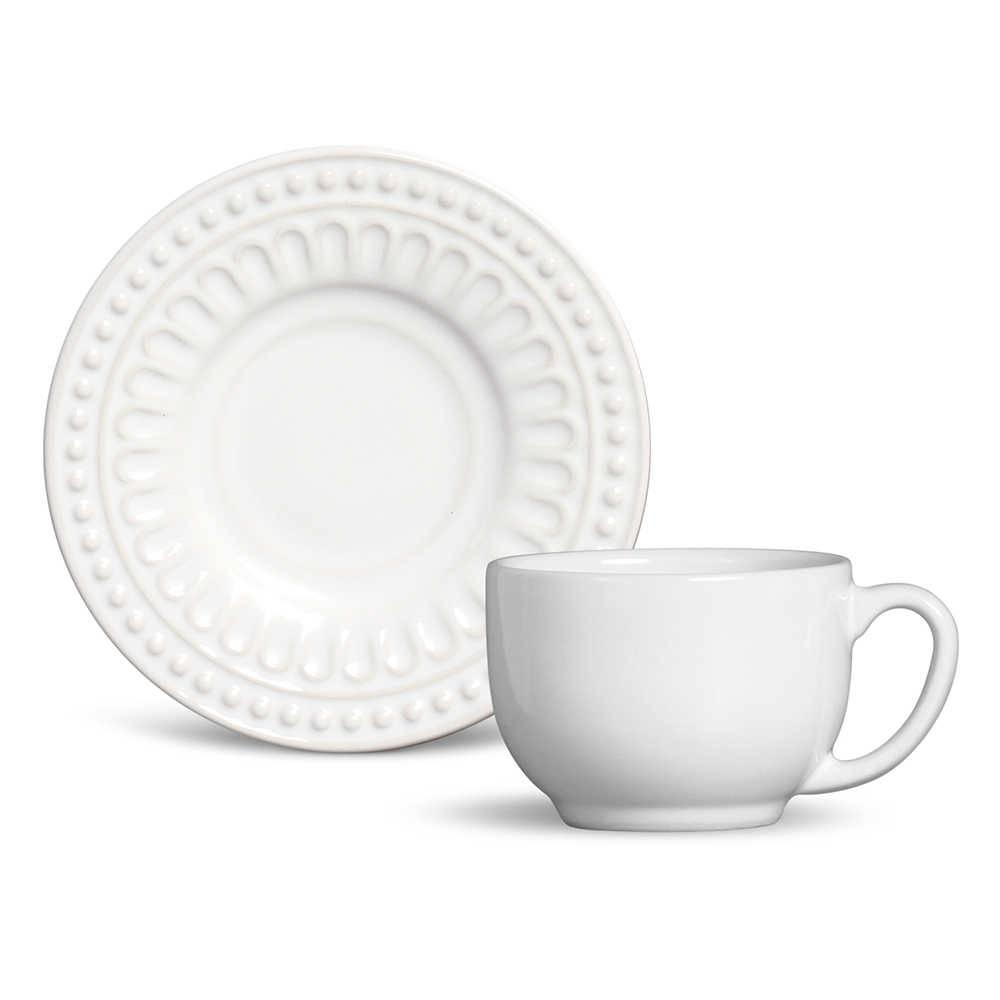 Conjunto 6 Xícaras de Chá com Pires Pérgamo Branco em Cerâmica - Ravenna - Porto Brasil