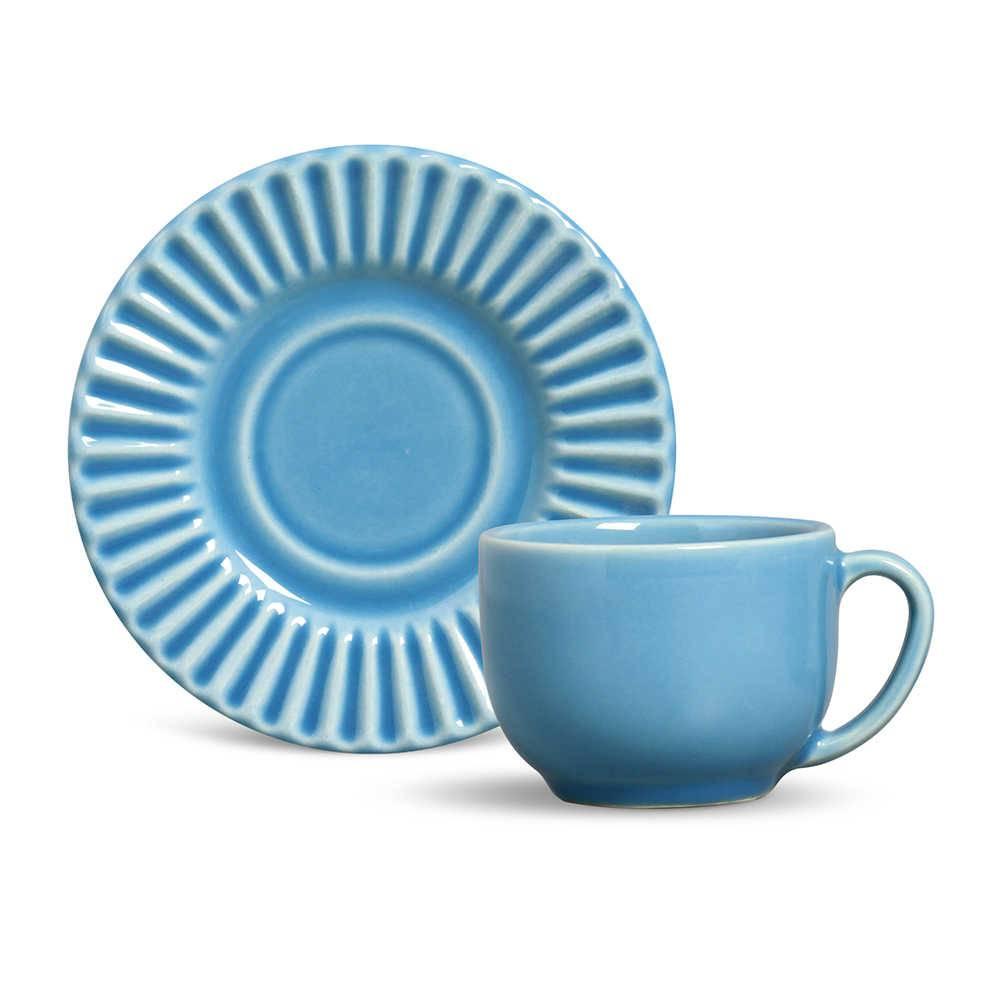 Conjunto 6 Xícaras para Chá com Pires Plissé Azul Celeste - em Cerâmica - La Tavola - Porto Brasil - 14x10,5 cm