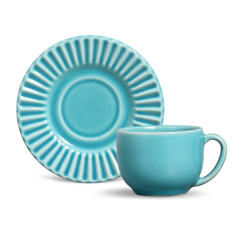 Conjunto 6 Xícaras para Chá com Pires Plissé Azul Poppy - em Cerâmica - La Tavola - Porto Brasil - 14x10,5 cm