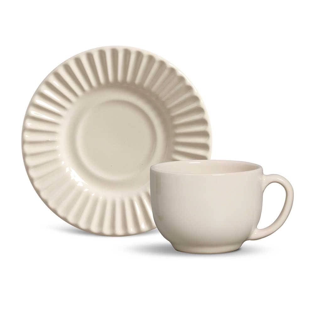 Conjunto 6 Xícaras para Chá com Pires Plissé Cru - em Cerâmica - La Tavola - Porto Brasil - 14x10,5 cm