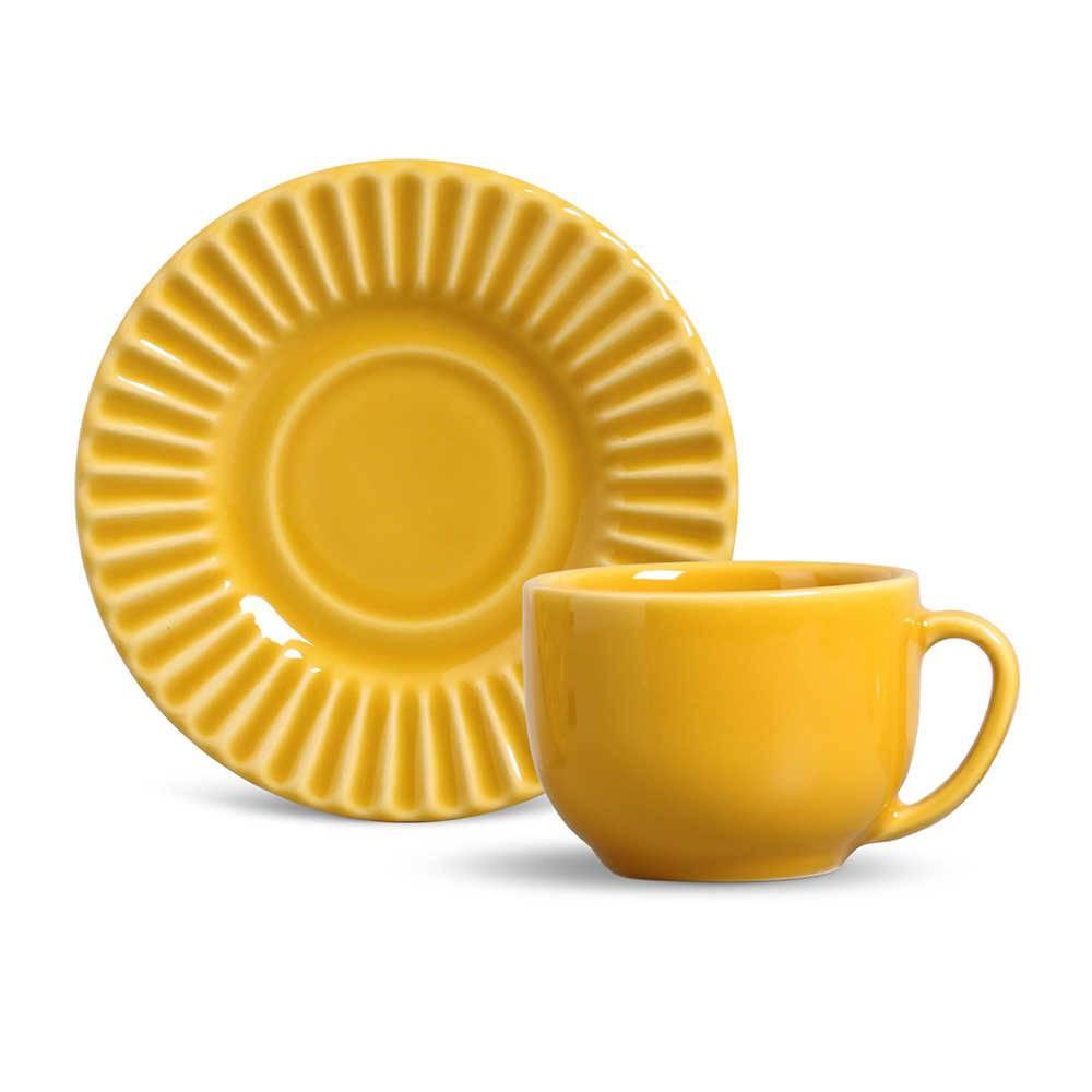 Conjunto 6 Xícaras para Chá com Pires Plissé Mostarda - em Cerâmica - La Tavola - Porto Brasil - 14x10,5 cm