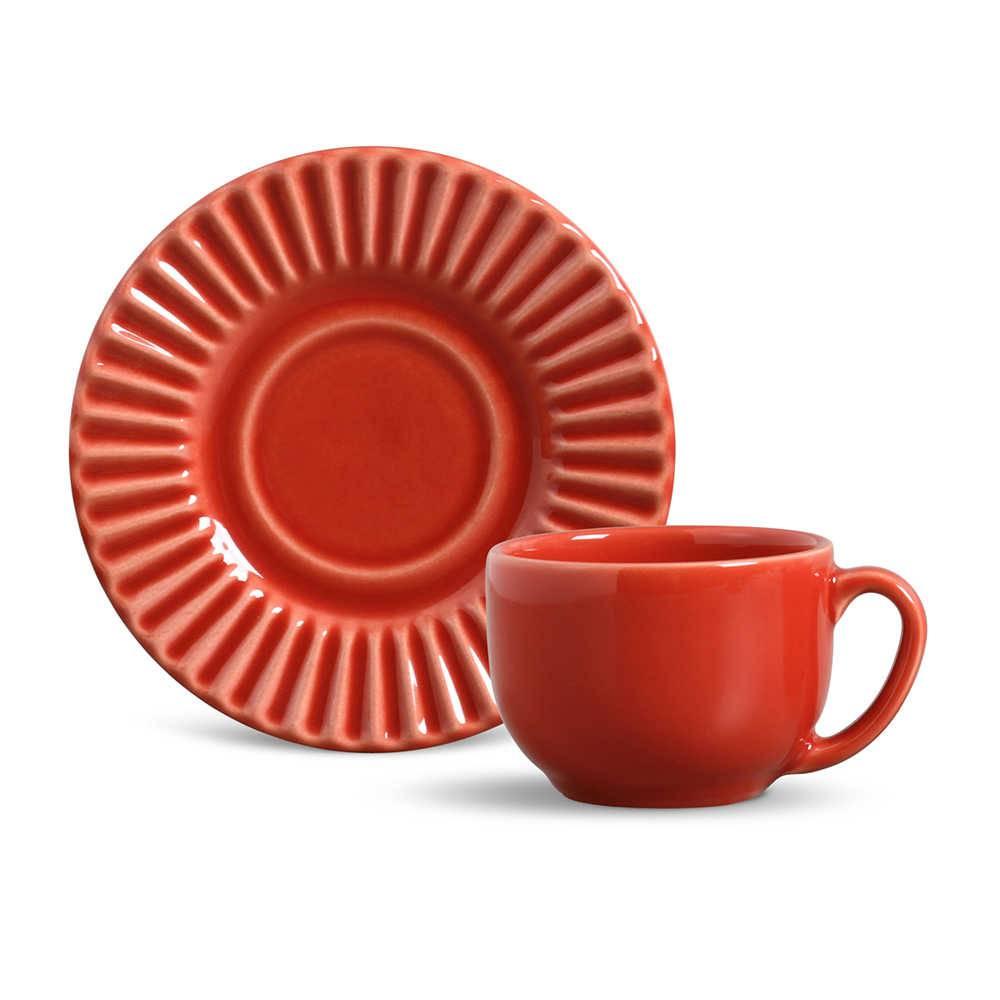 Conjunto 6 Xícaras para Chá com Pires Plissé Vermelho - em Cerâmica - La Tavola - Porto Brasil - 14x10,5 cm