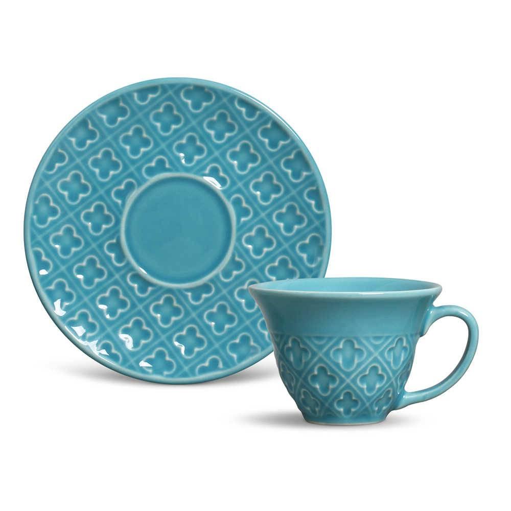 Conjunto 6 Xícaras de Chá com Pires Relief Azul Poppy em Cerâmica - Porto Brasil