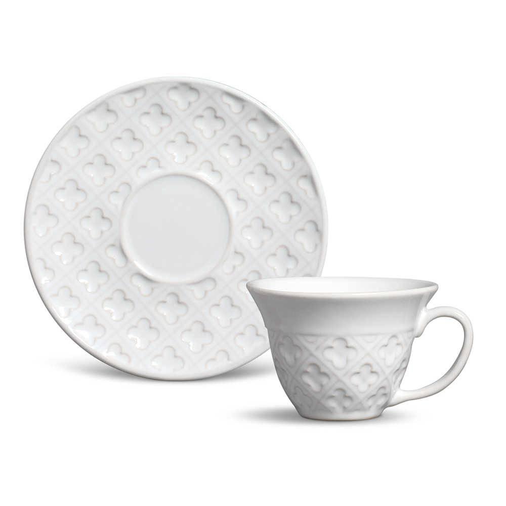 Conjunto 6 Xícaras de Chá com Pires Relief Branco em Cerâmica - Porto Brasil