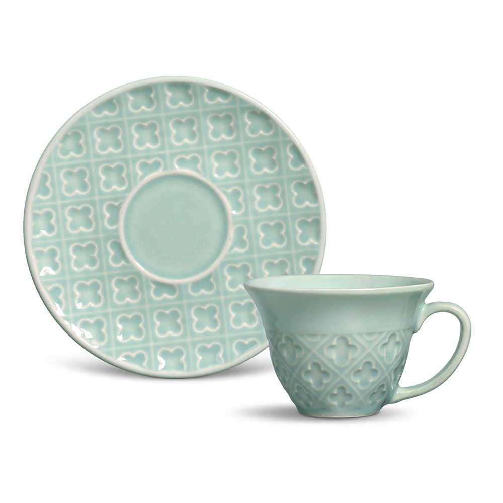 Conjunto 6 Xícaras de Chá com Pires Relief Verde em Cerâmica - Porto Brasil