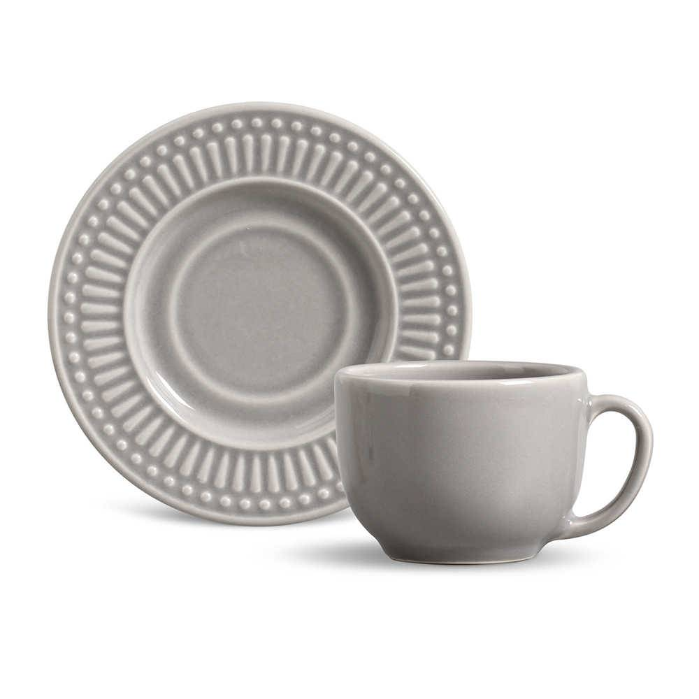 Conjunto 6 Xícaras para Chá com Pires Roma Cinza Claro - em Cerâmica - La Tavola - Porto Brasil - 14x10,5 cm