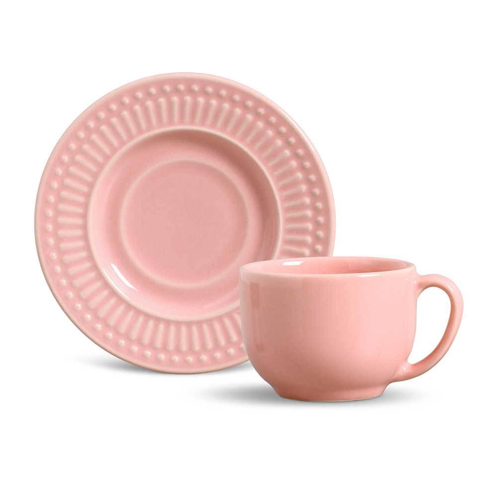 Conjunto 6 Xícaras para Chá com Pires Roma Rosa - em Cerâmica - La Tavola - Porto Brasil - 14x10,5 cm
